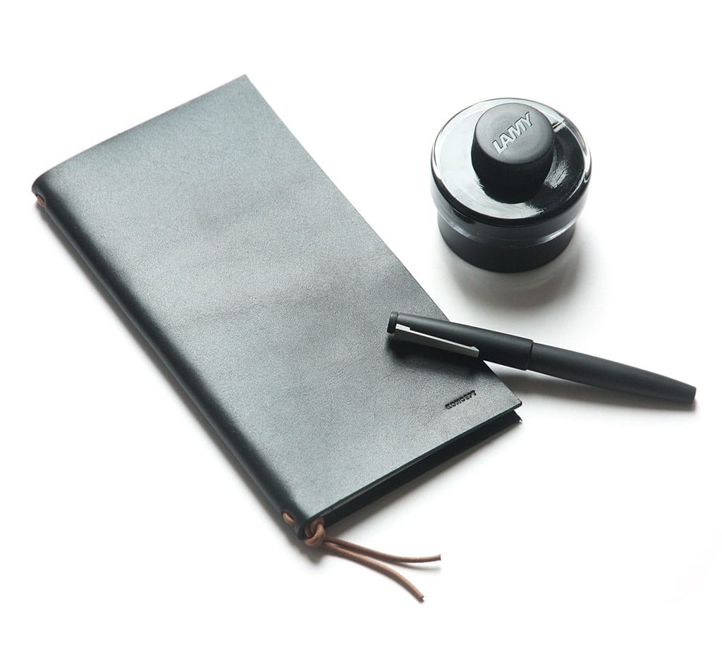 Koncept Studios Black Leather A5 Traveler's Notebook with Lamy 2000