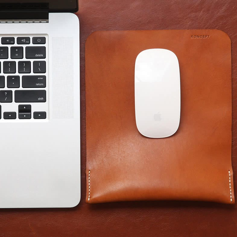 tan full grain leather desk mouse pad