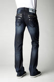 Mens Crystal Cove Straight Leg Denim Midnight Blue Wash With Zipper Matrix Light Sapphire Crystals