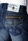 Mens Crystal Cove Straight Leg Denim Newport Wash With Zipper Matrix Jet Crystals