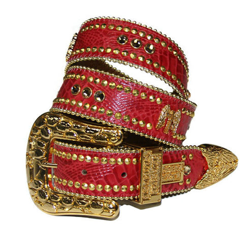 Laguna Red Crocodile Leather Belt# 31 with Light Colorado Topaz Crystals & Gold Hardware