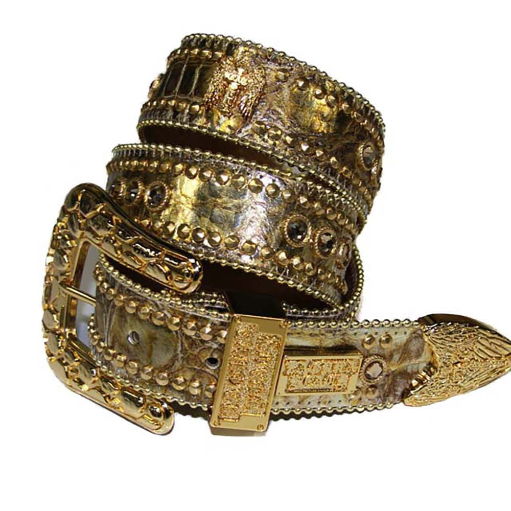 Laguna Gold Crocodile Leather Belt# 31 with Light Colorado Topaz Crystals & Gold Hardware