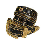 Laguna Black Crocodile Leather Belt# 31 with Jet Crystals & Gold Hardware