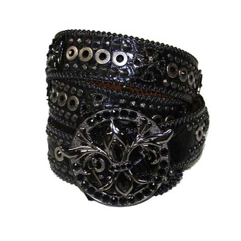 Hermosa Beach Black Crocodile Leather Belt# 33 with Jet Crystals