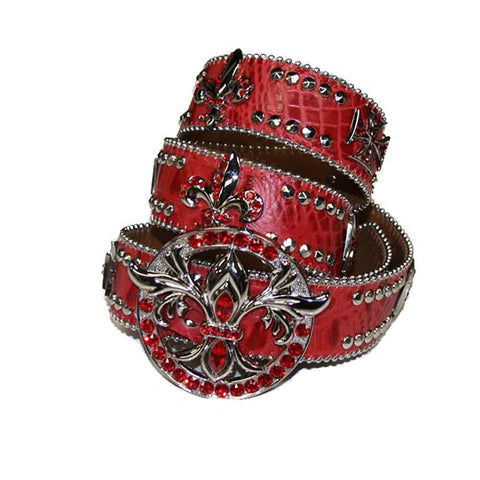 Hermosa Beach Red Crocodile Leather Belt# 42 with Light Siam Crystals