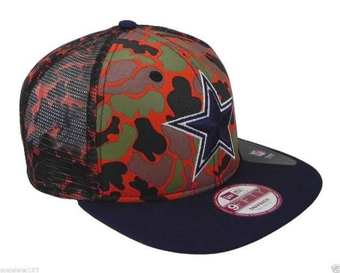 Dallas Cowboys CAMO FACE SNAPBACK 9Fifty Mesh New Era NFL Hat = Orange Camo = Med/Large
