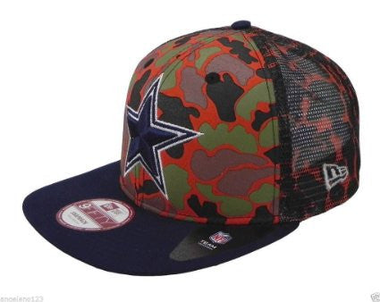 dde7cb167e Dallas Cowboys CAMO FACE SNAPBACK 9Fifty Mesh New Era NFL Hat   Orange Camo    Med