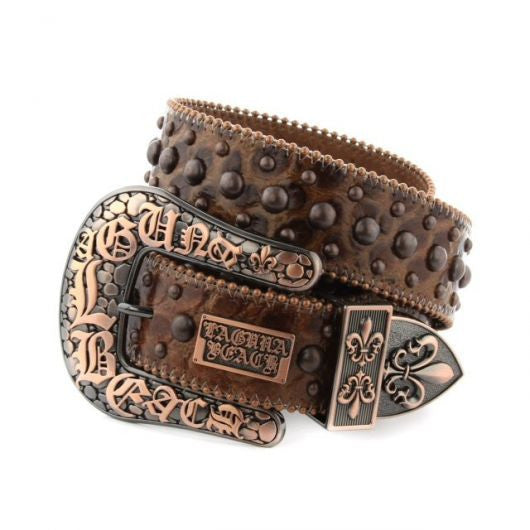 Laguna Beach Brown Crocodile Leather Belt# 7 with Studs