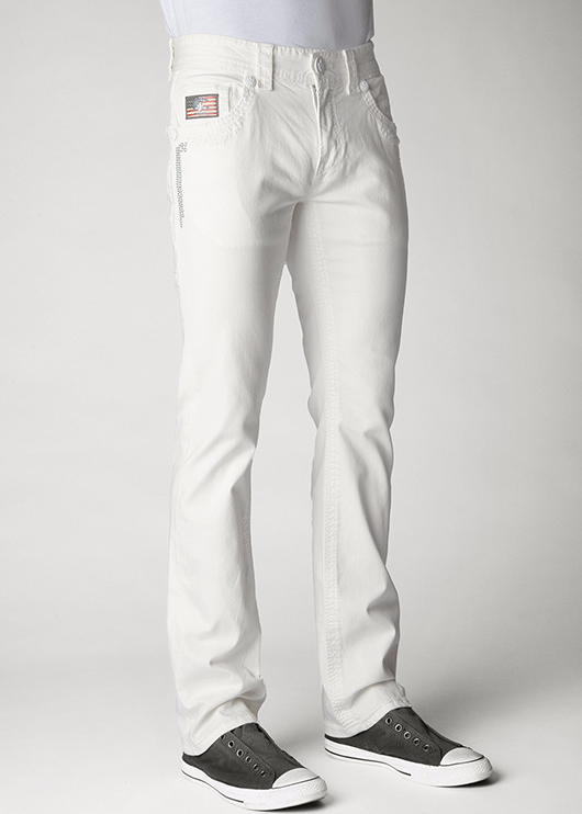 Mens Crystal Cove Straight Leg Denim Laguna (White) Wash With SS20 White Opal Crystals