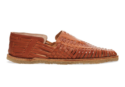 COGNAC FULL GRAIN LEATHER MEN'S HUARACHES