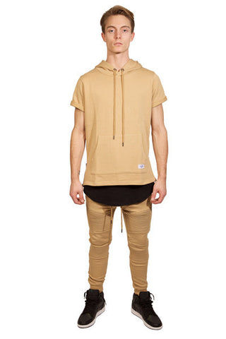 Moto Hooded S/S Sweat Shirt (Champagne)