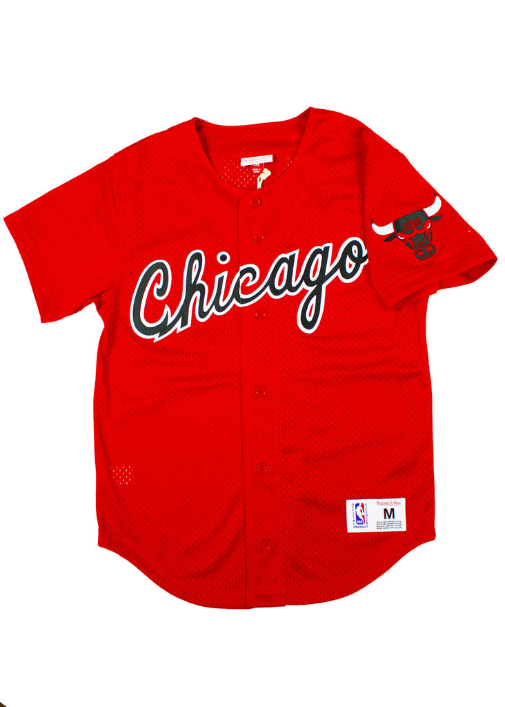 BULLS SCARLETT MESH BUTTON DOWN JERSEY