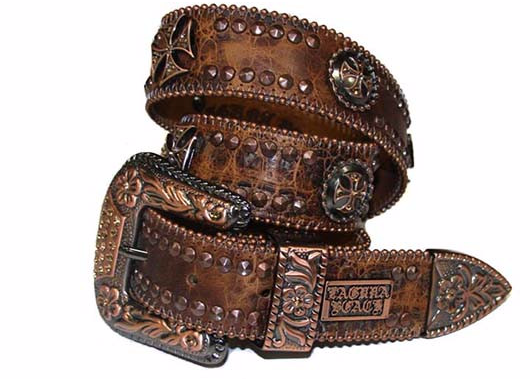 Sunset Beach Brown Crocodile Leather Belt# 38 with Light Colorado Topaz Crystals