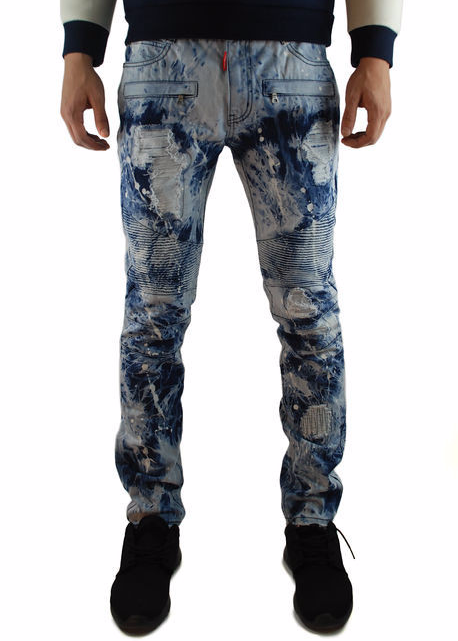 The Square Zero Slim Fit Cotton Biker Denim in Acid Indigo Washing.