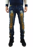 The Square Zero Slim Fit Cotton Biker Denim in DK.Indigo with Mud Overdye.