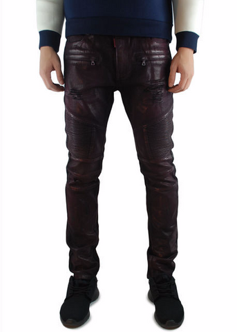 The Square Zero Slim Fit Cotton Biker Denim in Burgundy Wax.