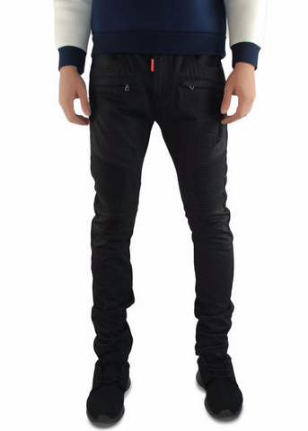 The Square Zero Slim Fit Cotton Biker Denim in Black Wax.