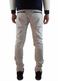The Square Zero Slim Fit Cotton Biker Denim in Off White.