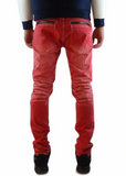 The Square Zero Slim Fit Cotton Color Denim in Red.