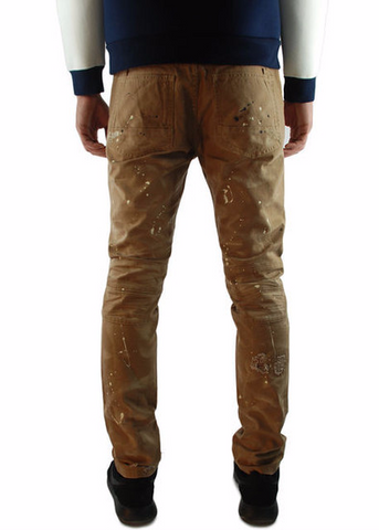 The Square Zero Slim Fit Canvas Biker Denim in Timber with Paint Drop Print.