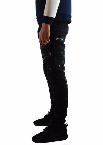 The Square Zero Slim Fit Canvas Biker Denim in Black with Paint Drop Print.