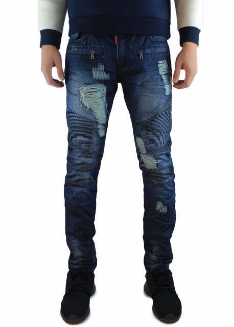 The Square Zero Slim Fit Cotton Biker Denim in Md Indigo with Partial Black Over Dye.