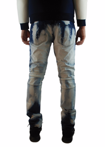 The Square Zero Slim Fit Cotton Biker Denim in Bleach Out Indigo Washing.