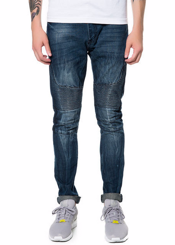 The S.Q.Z. Crafted Slim Biker Denim in DARK Indigo