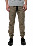 The S.Q.Z. Cotton Twill Jogger Long Pants with Tonal Flower Bandana Pattern Print