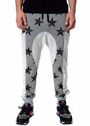 The S.Q.Z. Cotton French Terry Multi Pocket Drop Crotch Pants with Distressed Star Pattern Print