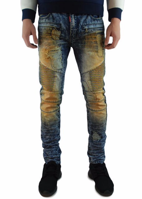 The Square Zero Slim Fit Cotton Biker Denim in Md Indigo Washing with Mud Over dye.