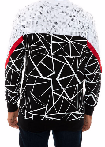 The S.Q.Z. French Terry Cut Block Geometric Printed Crew Neck with Red Point Tape in Black