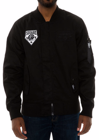 The S.Q.Z. Twill Bomber Jacket in Black