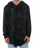 The Square Zero Mixed Pattern Allover Printed Zip Down Hood Long Cardigan
