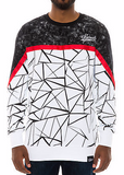 The S.Q.Z. French Terry Cut Block Geometric Printed Crew Neck with Red Point Tape in White