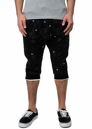 The S.Q.Z. Cotton Twill Jogger Short Pants with Tonal Flower Bandana Pattern Print