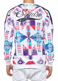 The.S.Q.Z. French Terry Multiple Navjo Pattern Print Crewneck in White