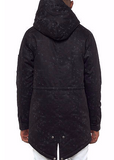 The.S.Q.Z. Tonal Pattern Printed PaddingTwill Poncho in Black