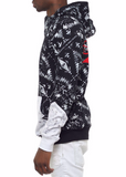 The.S.Q.Z. French Terry Navjo Pattern Print Angle Neck Zipper Closure Pullover Hoodie