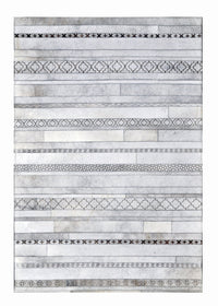 Poshrug Grey Striped Contemporary Rug - Free Shipping