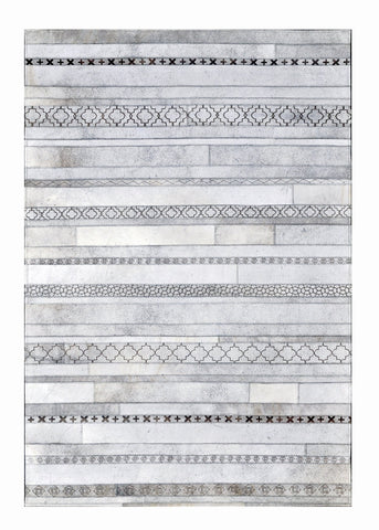 Poshrug Grey Striped Contemporary Rug