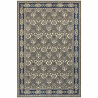 Richmond Grey Navy Oriental Persian Traditional Rug