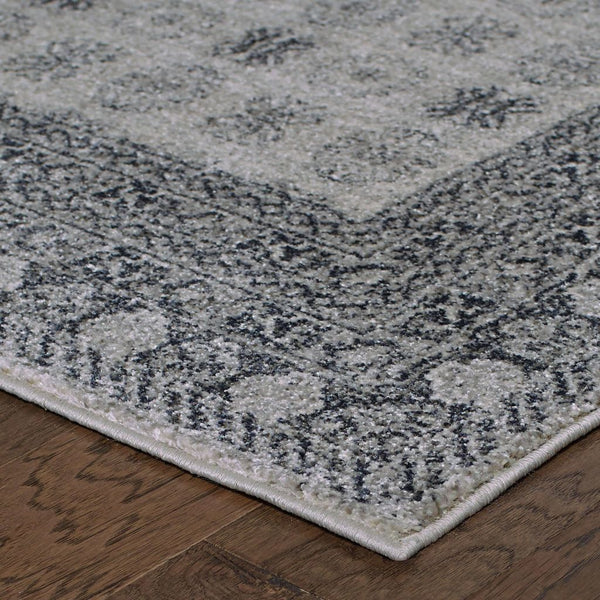 Woven Richmond Ivory Grey Oriental Border Traditional Rug