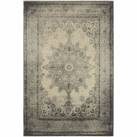Richmond Ivory Grey Oriental Distressed Traditional Rug - Free Shipping