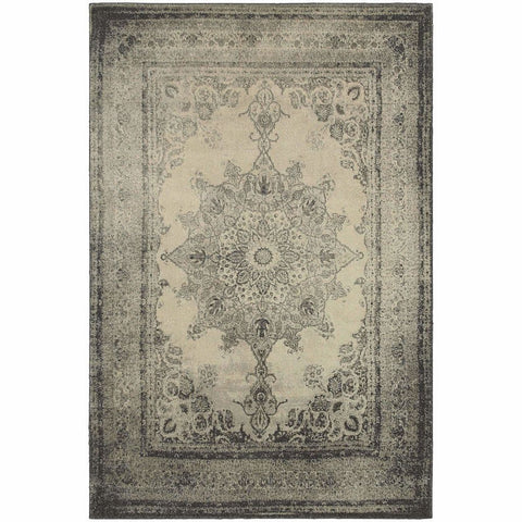 Richmond Ivory Grey Oriental Distressed Traditional Rug
