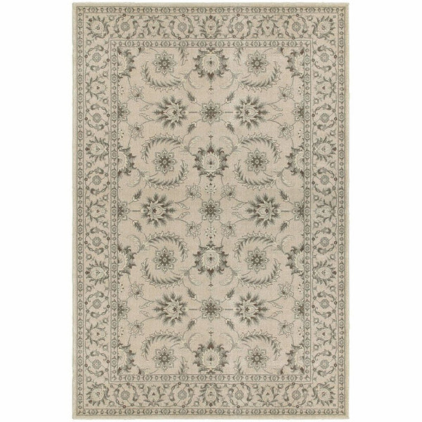 Richmond Ivory Grey Oriental Floral Traditional Rug - Free Shipping