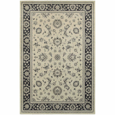 Richmond Ivory Navy Oriental Persian Traditional Rug