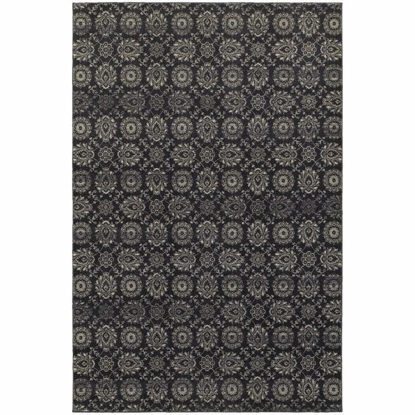 Richmond Navy Grey Oriental Floral Traditional Rug - Free Shipping