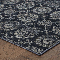 Woven Richmond Navy Grey Oriental Floral Traditional Rug