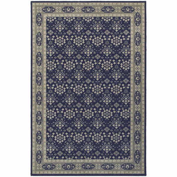Richmond Navy Grey Oriental Persian Traditional Rug - Free Shipping